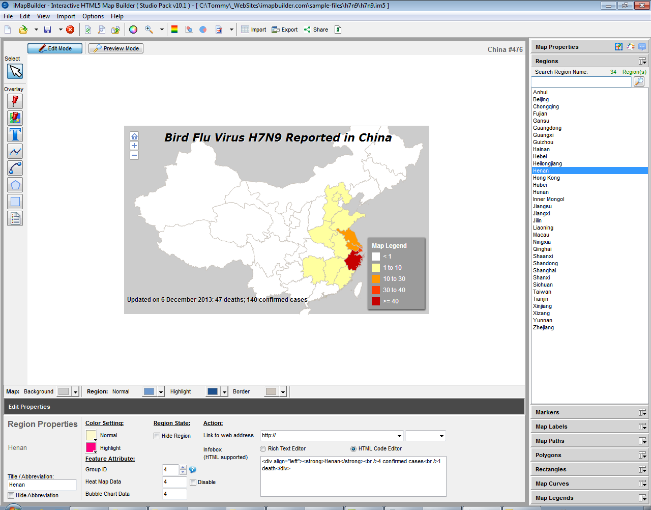 iMapBuilder Interactive HTML5 Map Builder, Presentation Software Screenshot