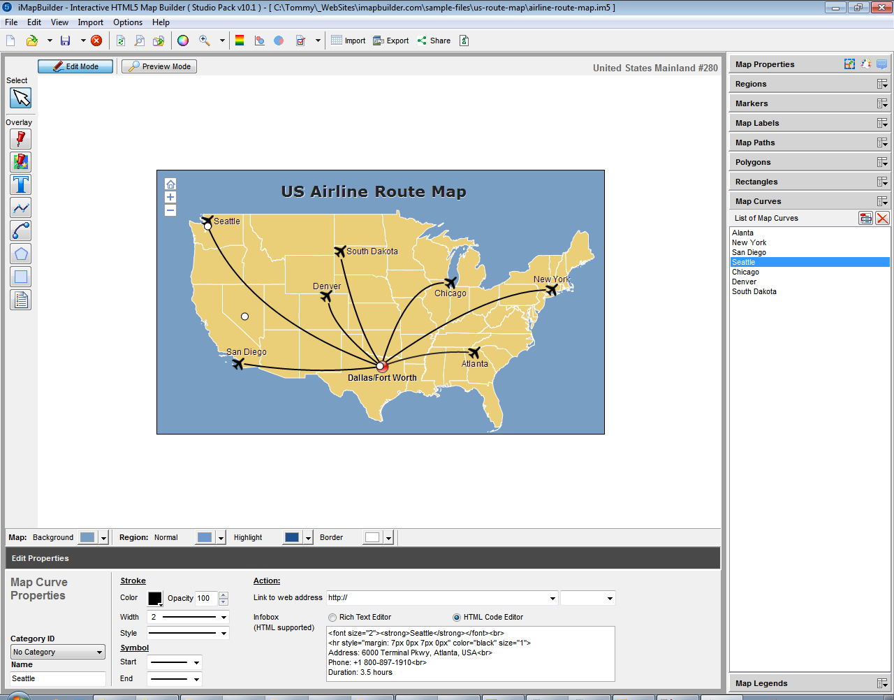 iMapBuilder Interactive HTML5 Map Builder Screenshot
