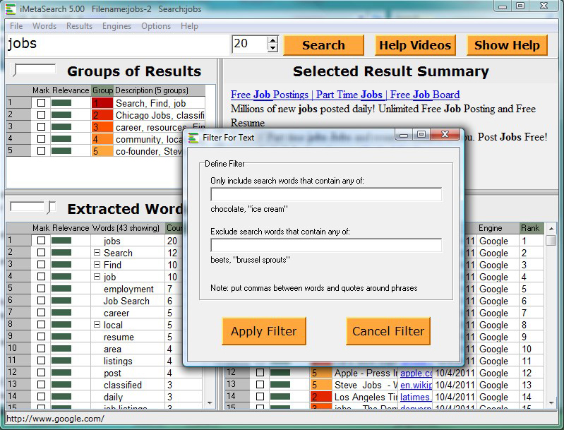 Web Research Software, iMetaSearch Pro Screenshot