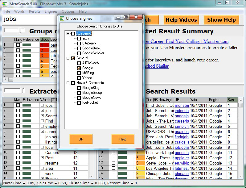 Web Research Software Screenshot