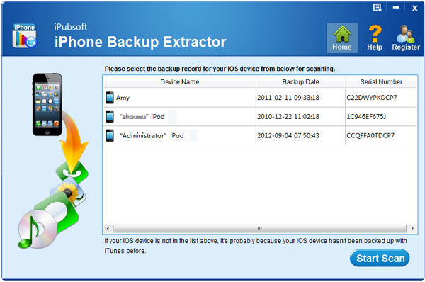 iPubsoft iPhone Backup Extractor Screenshot