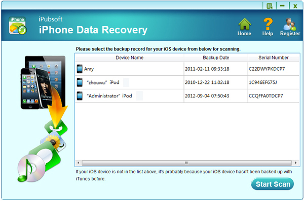 iPubsoft iPhone Data Recovery Screenshot