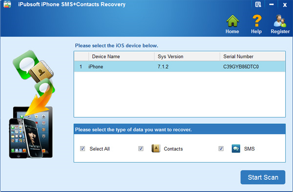 iPubsoft iPhone SMS+Contacts Recovery Screenshot