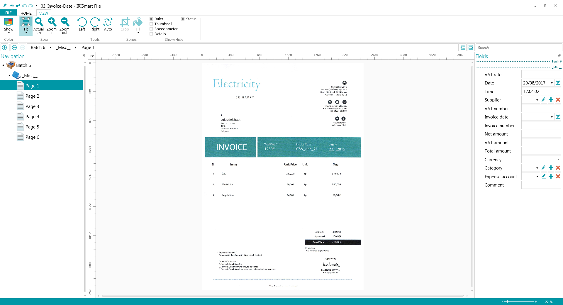 IRISmart Invoice Screenshot