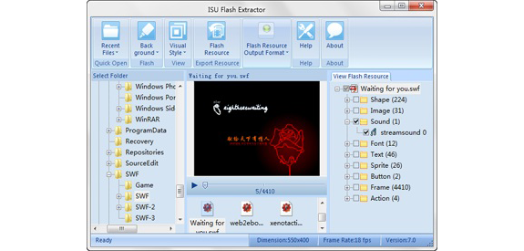 ISU Flash Extractor Screenshot