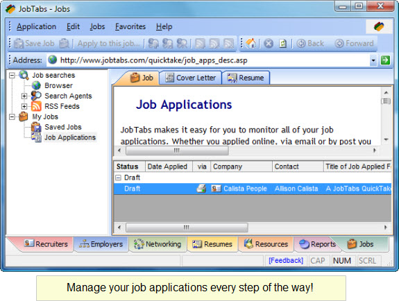 JobTabs Job Search & Resume Job Search & Business Card Software