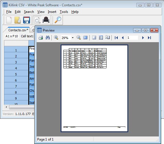Killink CSV, Business & Finance Software Screenshot