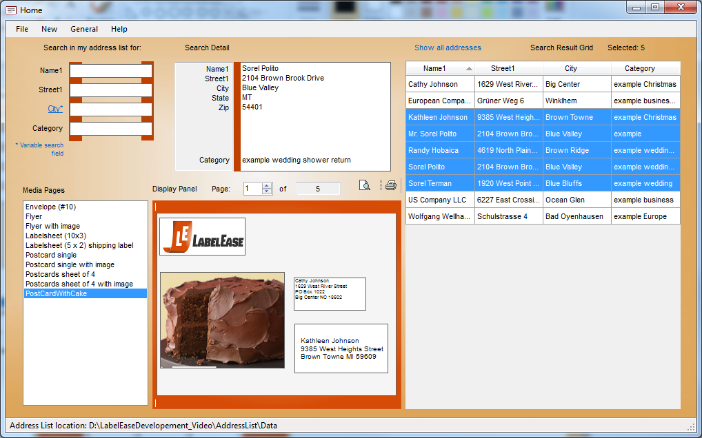 LabelEase, Contact Management Software Screenshot