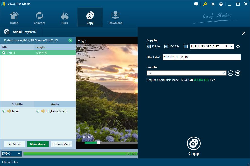 Video Software, Leawo DVD Copy Screenshot