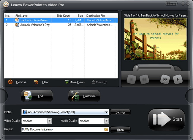Leawo PowerPoint to Video Converter Pro Screenshot
