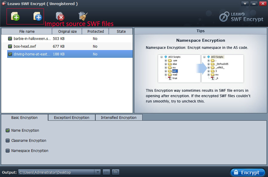 Leawo SWF Encrypt Screenshot