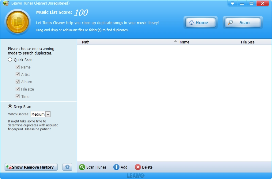 Leawo Tunes Cleaner Win & Mac, Files and Folders Software Screenshot