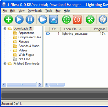 Internet Download Manager Software, Lightning Download Screenshot