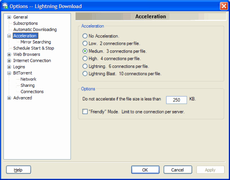 Internet Software, Lightning Download Screenshot