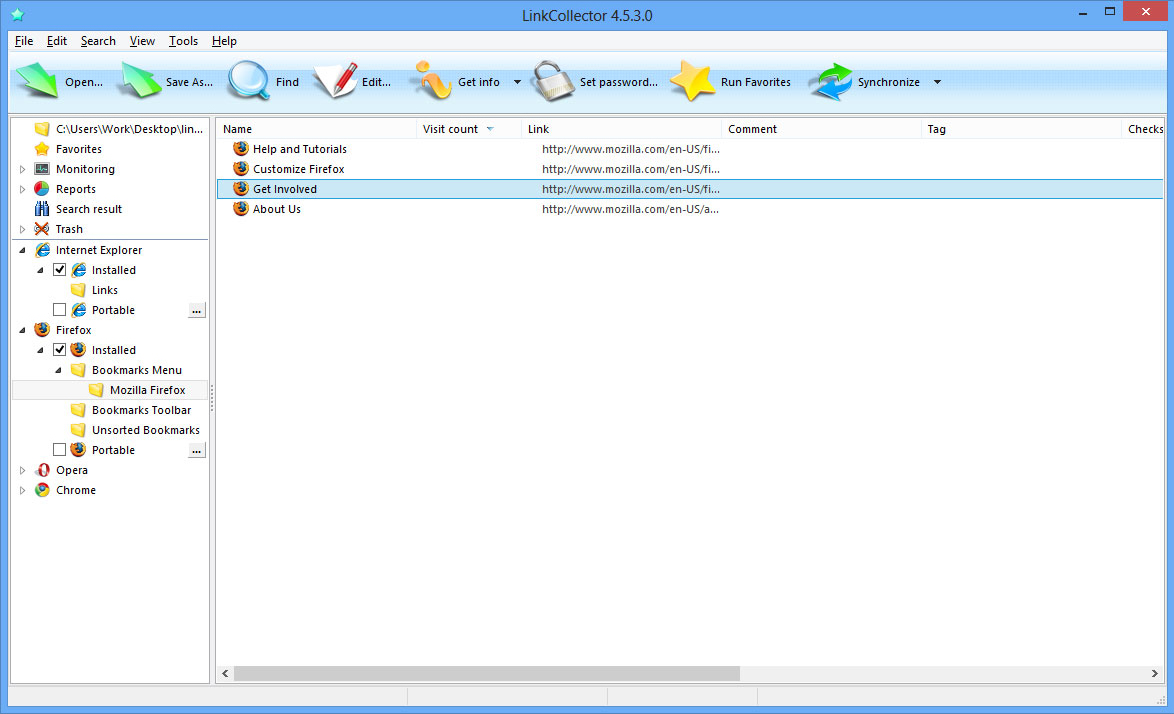 LinkCollector Portable, Bookmark Manager Software Screenshot