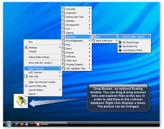 Linkman Pro (2 Computer License), Bookmark Manager Software Screenshot