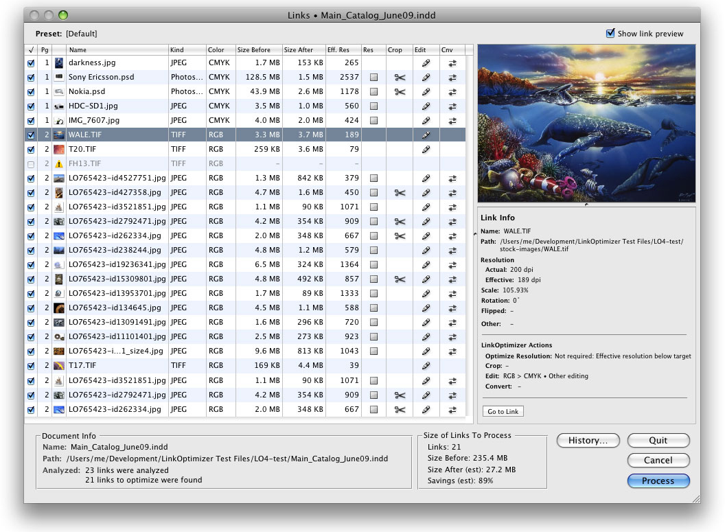LinkOptimizer Screenshot