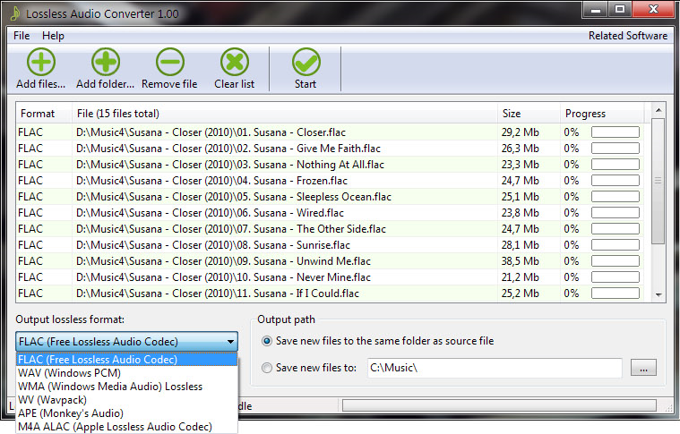 Lossless Audio Converter Screenshot