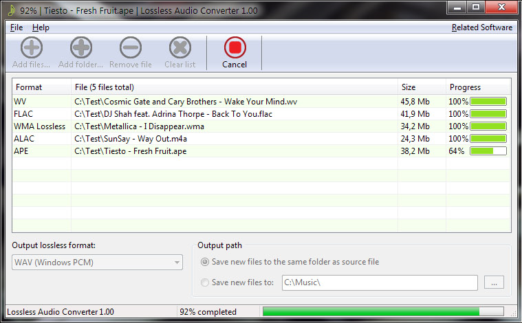 Lossless Audio Converter, Audio Conversion Software Screenshot