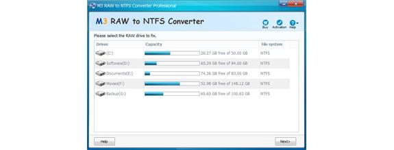 M3 RAW to NTFS Converter Screenshot