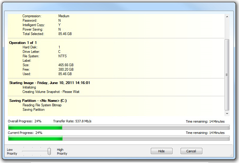 Backup Disk Image Software, Macrium Reflect Professional Screenshot