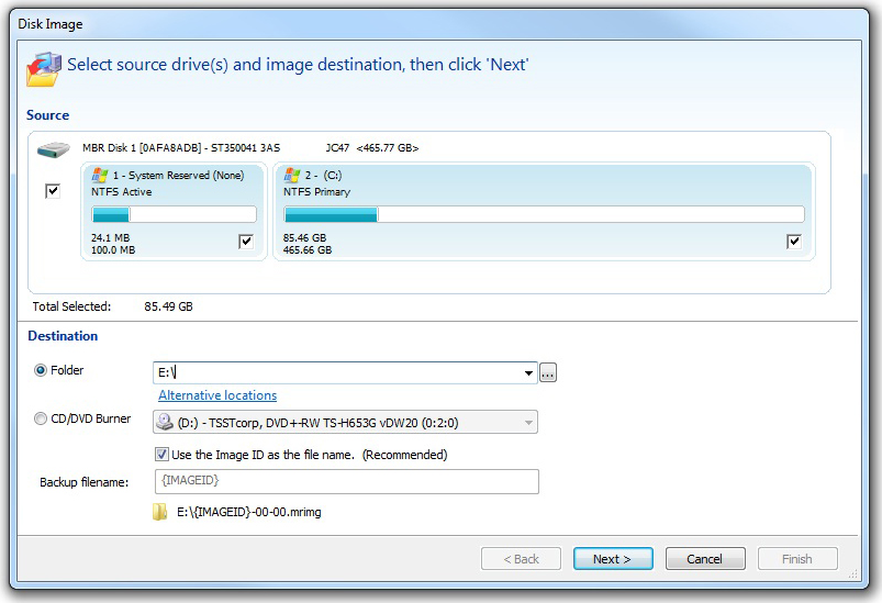 Backup Disk Image Software Screenshot