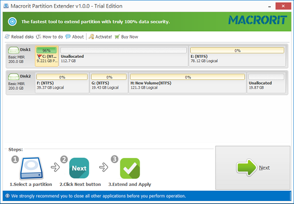 Macrorit Partition Extender Pro Screenshot