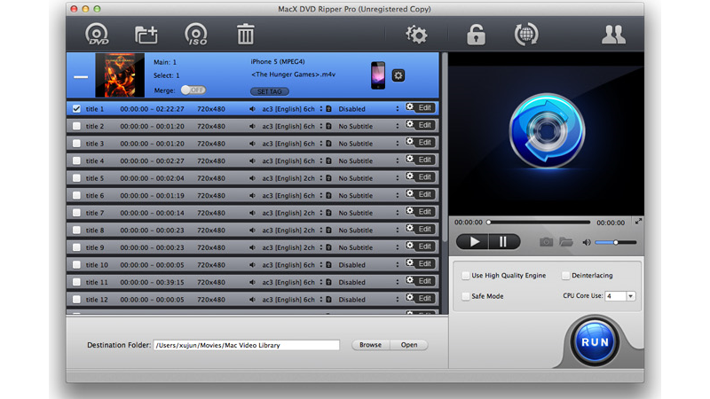 MacX DVD Ripper Pro for Mac Screenshot