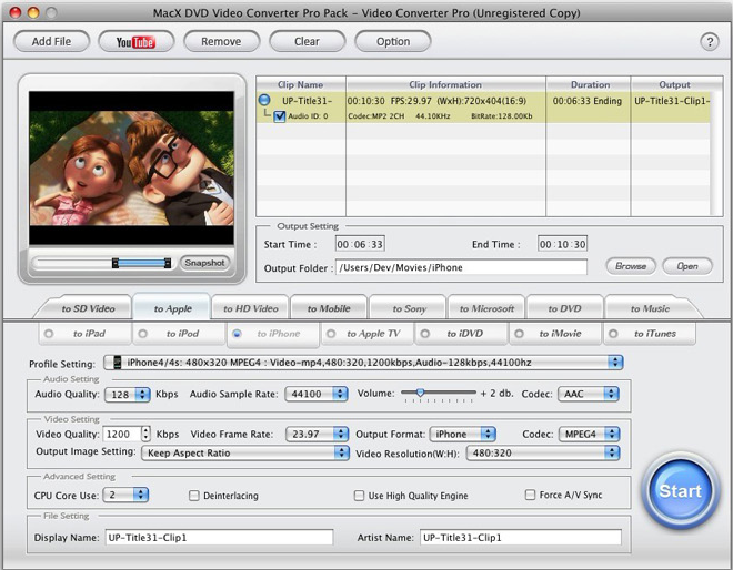 MacX DVD Video Converter Pro Pack, Video Converter Software Screenshot
