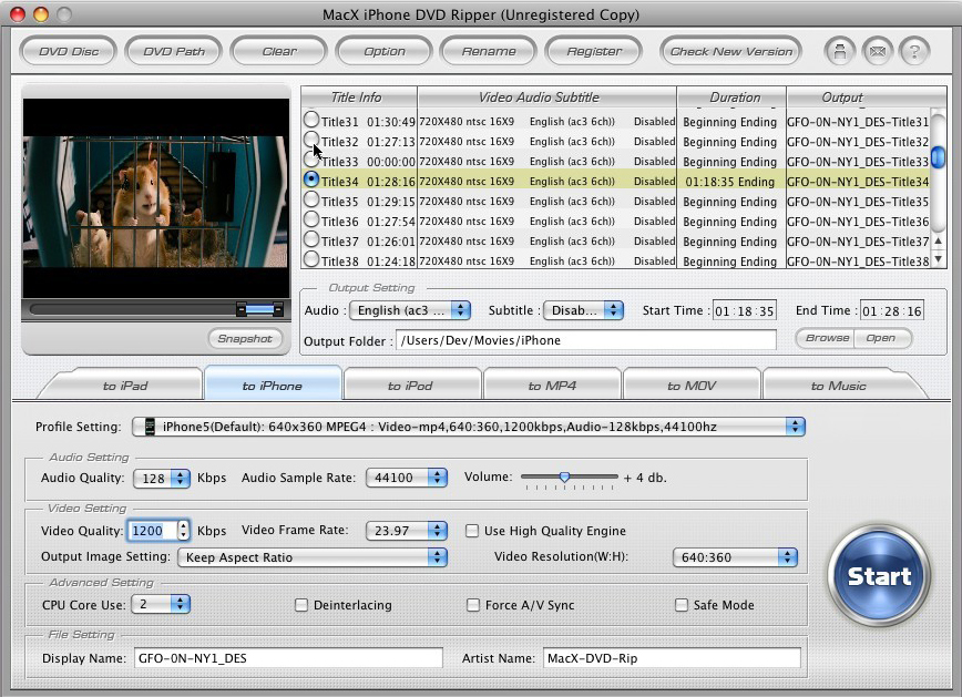 MacX iPhone DVD Ripper for Mac Screenshot