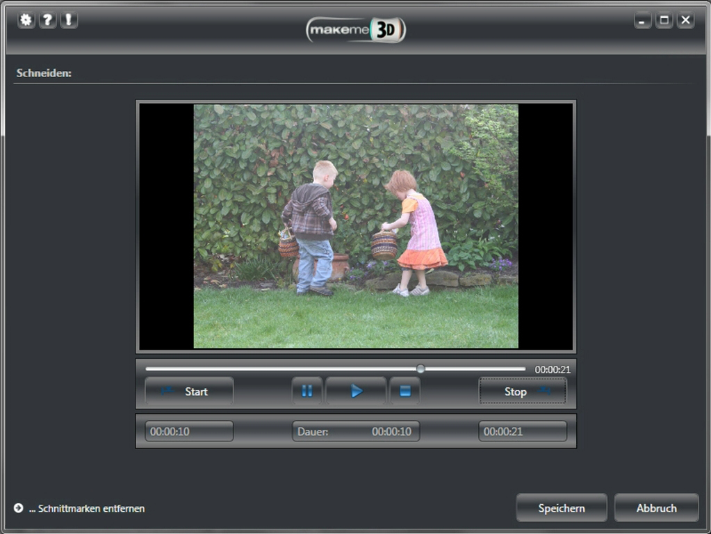 MakeMe3D, Video Software Screenshot