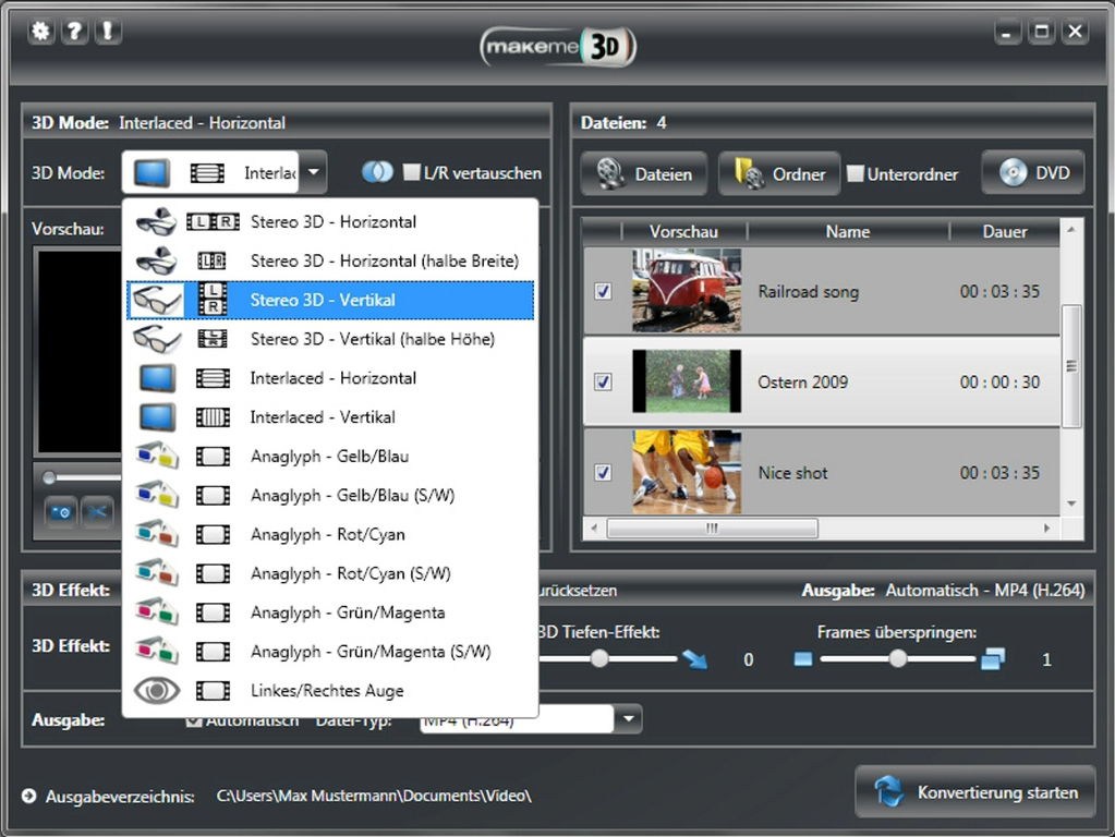 Video Converter Software, MakeMe3D Screenshot