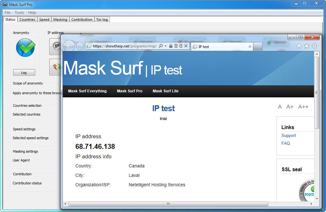 Mask Surf Pro, Access Restriction Software Screenshot