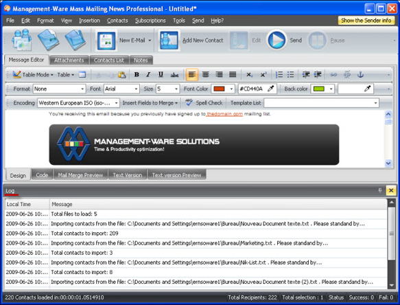 Mass Mailing News Pro, Internet Software Screenshot