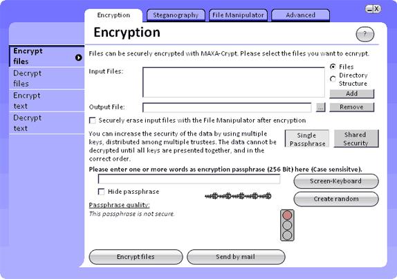 MAXA Security Tools Screenshot