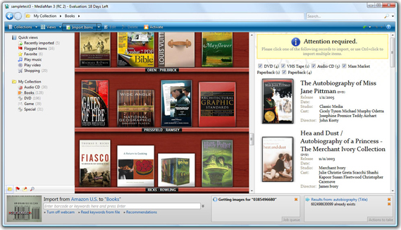 Cataloging Software, MediaMan Screenshot