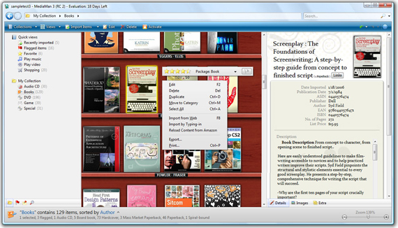MediaMan, Hobby, Educational & Fun Software, Cataloging Software Screenshot