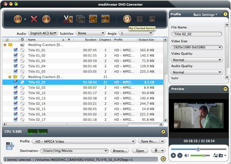 mediAvatar DVD Converter for Mac Screenshot