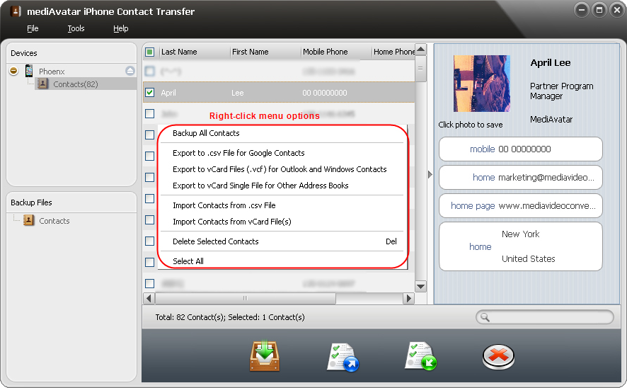 mediAvatar iPhone Contact Transfer, iPod iPhone iTunes Software Screenshot