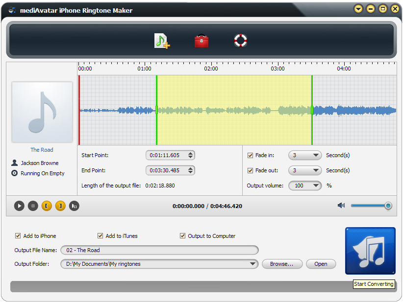 mediAvatar iPhone Ringtone Maker, Audio Software Screenshot