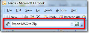 MessageExport add-in for Outlook Screenshot