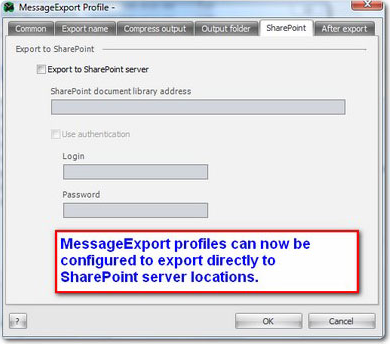 MessageExport add-in for Outlook, Document Conversion Software Screenshot
