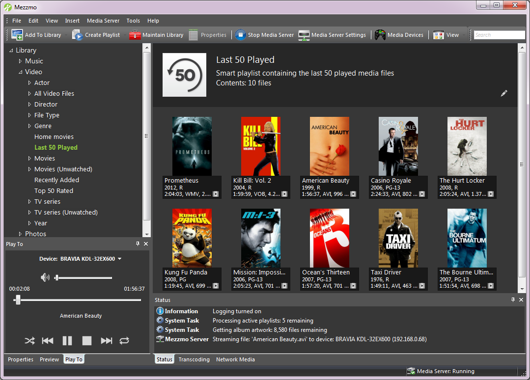 Mezzmo, Video Player Software Screenshot