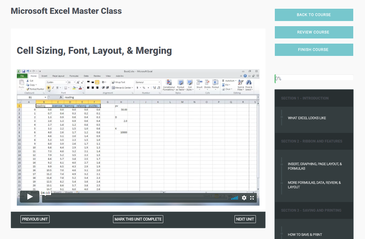 Microsoft Excel Master Class, Learning and Courses Software Screenshot