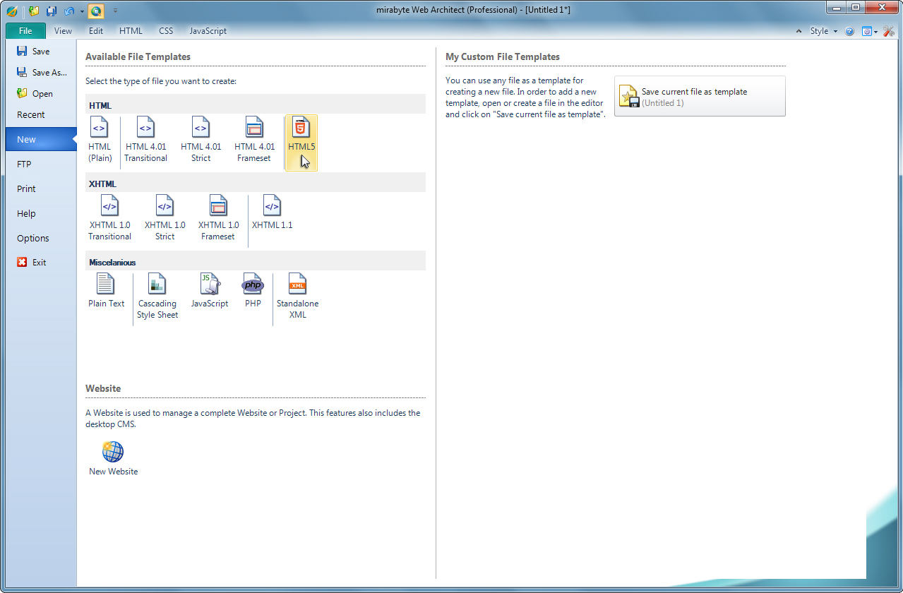 mirabyte Web Architect 9, Development Software Screenshot