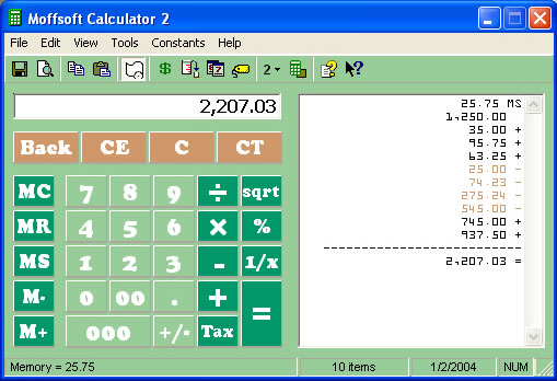 Moffsoft Calculator, Productivity Software Screenshot
