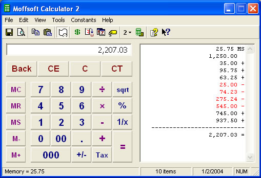 Moffsoft Calculator Screenshot