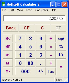 Moffsoft Calculator, Calculator Software Screenshot