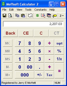 Calculator Software, Moffsoft Calculator Screenshot
