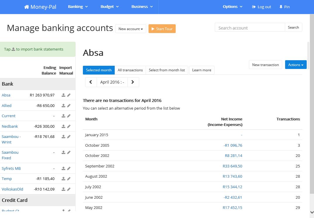 Money-Pal, Personal Finance Software Screenshot